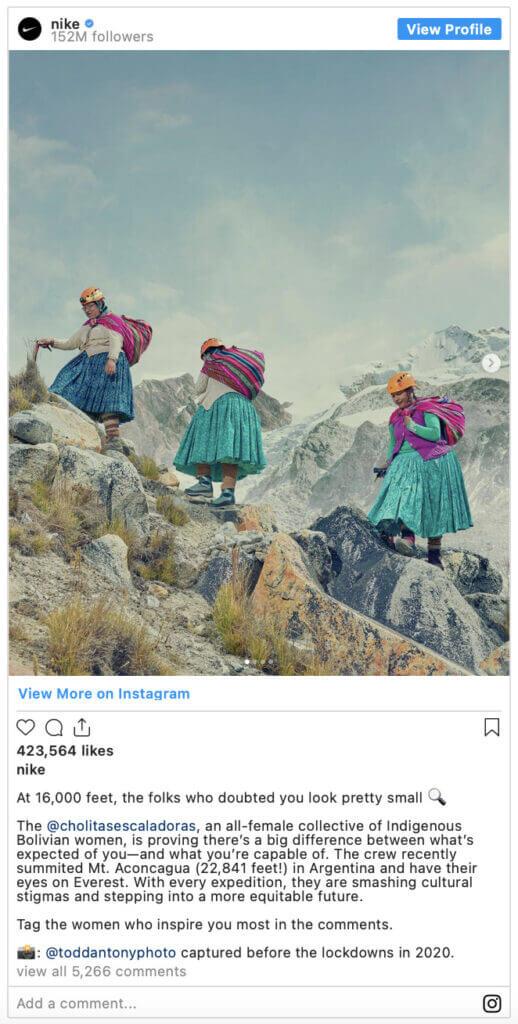 Publicación que realiza Nike en Instagram sobre las Cholitas Escaladoras