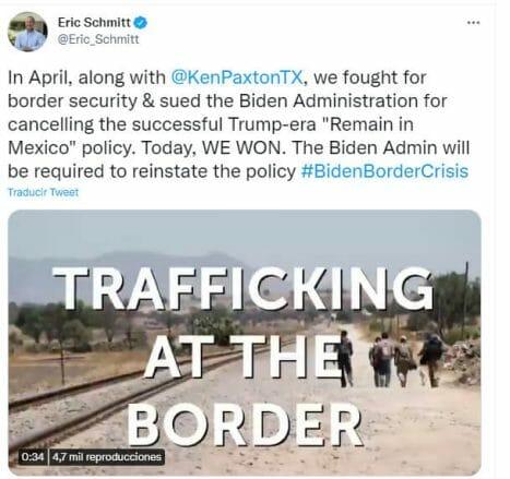 Nota sobre la posible reactivación del programa Remain in Mexico. La imagen es del comunicado vía Twitter del fiscal general de Missouri, Eric Schmitt.